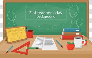 Ilustração de fundo do dia plana do professor, escola de quadro-negro do dia dos professores, mesa criativa do dia PNG clipart