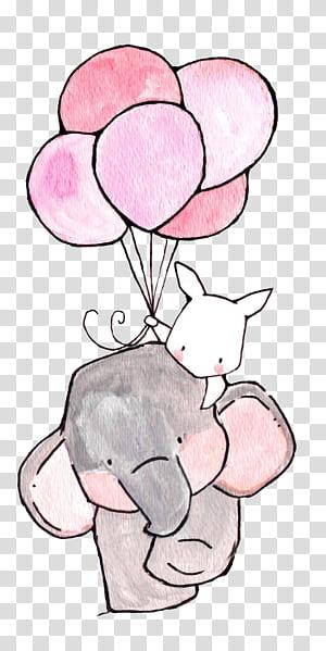Papel de berçário desenho ilustração de impressão, o elefante e o coelho branco, elefante e coelho segurando balões arte PNG clipart