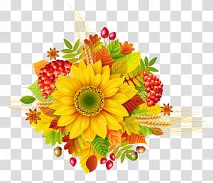 girassol amarelo com frutas, outono flor, decoração de outono PNG clipart