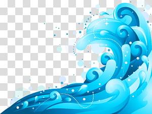 onda de vento euclidiana onda, plano de fundo azul ondas, onda ilustração png