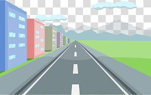 estrada ao lado de edifícios ilustração, curva da estrada, estrada png
