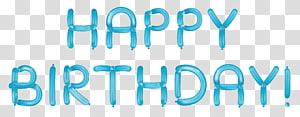 Bolo de aniversário, feliz aniversário com balões azuis, sobreposição de texto feliz aniversário png