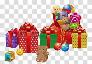Presente de Natal Papai Noel Presente de Natal, presentes de Natal, brinquedos de pelúcia e ilustração de caixa de presente PNG clipart