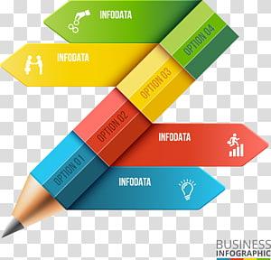 ilustração multicolorida de negócios, lápis infográfico Adobe Illustrator, gráfico de flechas de lápis de cor PNG clipart