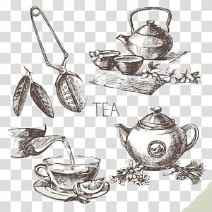 bules de cerâmica, chá verde desenho esboço, xícara de chá pintados à mão png