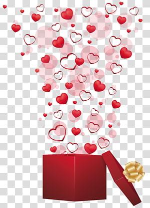 Dia dos namorados presente coração, presente vermelho com corações, explodindo coração na ilustração de caixa de presente aberto png