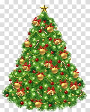 Ilustração da árvore de Natal, árvore de Natal, dia de Natal, árvore de Natal com enfeites e sinos de ouro PNG clipart