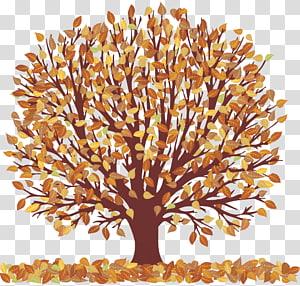 Árvore de outono, árvore de outono com folhas que caem, marrom PNG clipart