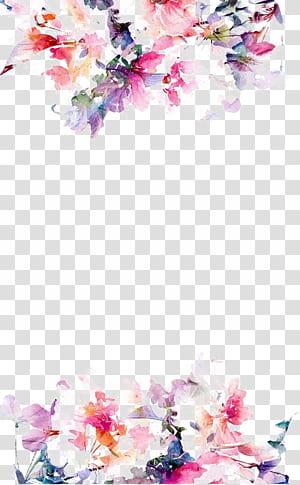 papel de flor iPhone 5s, borda de flores em aquarela, flores rosa em fundo branco PNG clipart