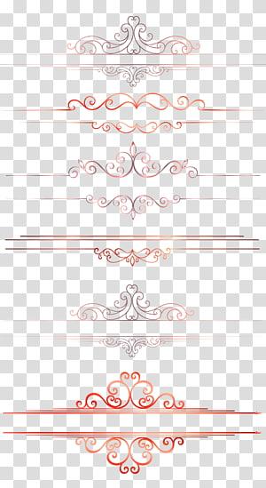 Arquivo de computador, textura de borda de linha de divisor de padrão europeu, decorações de papel de cores sortidas png