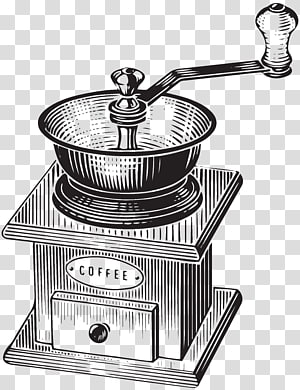 ilustração de moedor de café manual preto, café London Cafe Poster Illustration, moinho de café png