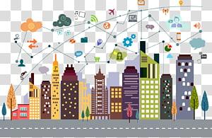 ilustrações de cores sortidas, Cityscape Building Illustration, Internet City PNG clipart