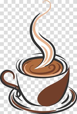 ilustração de caneca azul e marrom, feijão de café xícara de café café, mão desenhada uma xícara de café png