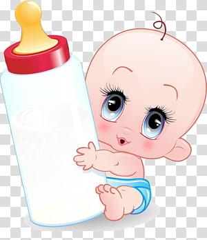 Garrafa de bebê infantil dos desenhos animados, bebê, bebê segurando a ilustração da mamadeira PNG clipart
