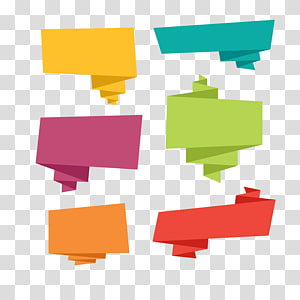Balão de fala Origami Microsoft PowerPoint, banner de origami colorido, seis ilustrações de texto de bolha PNG clipart