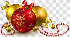 Enfeite de Natal, árvore de Natal, bolas de Natal de ouro e vermelho, ilustração de enfeites de Natal png