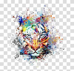 Arte abstrata Pintura Desenho, tigre de respingo de tinta de cor criativa Avatar, arte abstrata de tigre PNG clipart