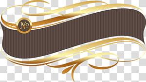 arte de fita marrom e dourada, caixa de título de faixa planar euclidiana png