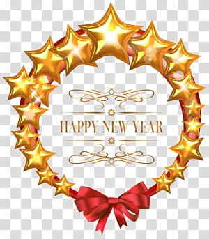 ilustração de estrelas amarelas com sobreposição de texto feliz ano novo, dia de ano novo véspera de ano novo, feliz ano novo estrelas decoração oval png