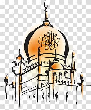 Eid Mubarak Eid al-Fitr Mesquita Eid al-Adha Jumuah, Mesquita pintada à mão, ilustração em preto e marrom do candelabro png