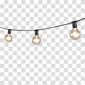 Iluminação Lâmpada incandescente Lâmpada LED String, mini luzes de corda com lâmpadas globo, close-up de luzes de corda pretas de 3 luzes PNG clipart