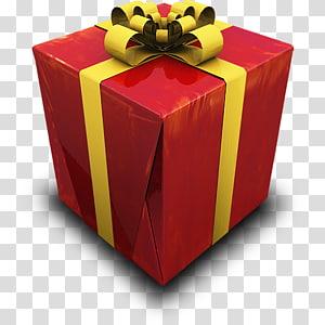 caixa mesa presente, presente, vermelho e amarelo caixa de presente em close-up PNG clipart