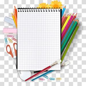 Bloco de notas e lápis de cores sortidas, Escola Ensino fundamental Ano acadêmico Classe, Material escolar a lápis de padrão colorido à mão PNG clipart