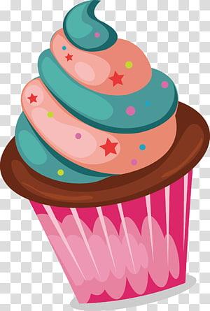 ilustração de cupcake, sorvete Cupcake padaria Fruitcake, cupcakes coloridos png