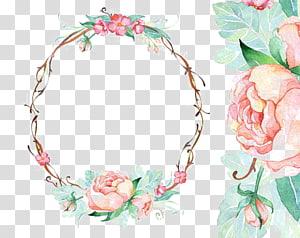 quadro de flores em aquarela de papel de convite de casamento, borda circular, coroa floral rosa e verde png