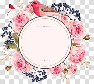Convite de casamento flor euclidiana, flores e fronteiras, pássaro rodeado por ilustração de flores rosa rosa PNG clipart