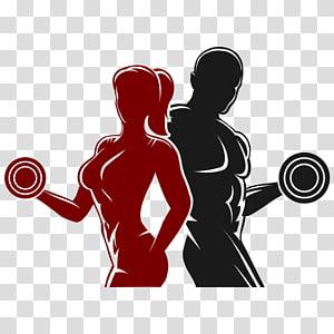 mulher e homem segurando halteres, aptidão física logotipo Fitness Center, padrão de aptidão, aptidão png