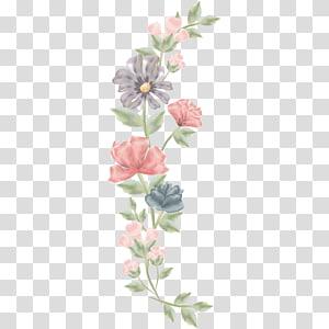 Material de flores pintadas à mão, pintura de flores rosa e azul PNG clipart