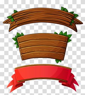 fita de madeira marrom e fita vermelha, madeira Banner Plank Logo, placa de madeira png