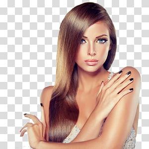 Mulher que veste o vestido cinzento do decote do querido, cosméticos modelo do cabelo do salão de beleza da mulher, roncando PNG clipart