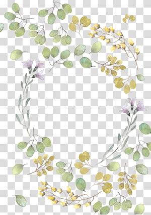pintura em aquarela de folha de flor, folhas verdes frescas aquarela folhas, modelo de grinalda de flor rosa e amarelo PNG clipart