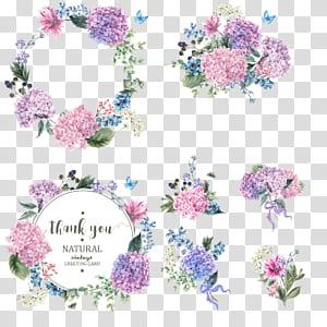 Jardim de flores Hydrangea Blossom, grinalda de buquê colorida, pinturas de flores sortidas PNG clipart