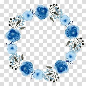 ícone de grinalda floral azul e branco, convite de casamento flor de grinalda de papel, fundo de guirlanda PNG clipart
