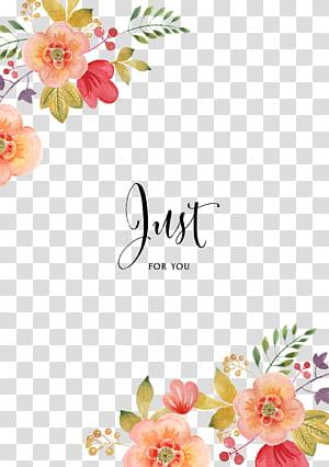 Convite de casamento flor Pintura em aquarela, padrão de borda decorativa, apenas para você texto png
