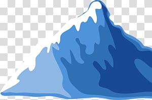ilustração de montanha coberta de neve, desenho montanha Cartoon, Iceberg fresco azul PNG clipart