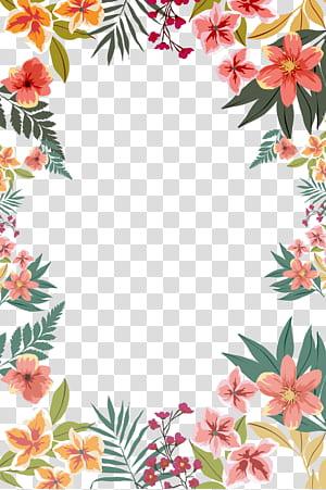 Papel da flor, forma da borda da flor do verão, ilustração de flores de pétalas rosa e laranja PNG clipart