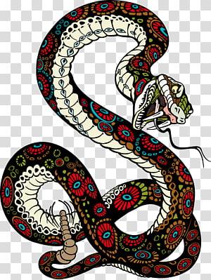 ilustração de cobra vermelha, preta e branca, Tiger Snake Lion Illustration, cobra PNG clipart