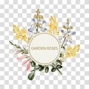 Convite de casamento Flor Pintura em aquarela Banner, borda floral, ilustração de rosas de jardim png