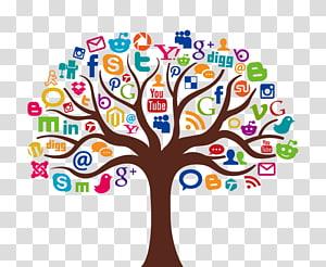 ilustração da árvore marrom e multicolorida, mídia social marketing ícone, árvore de informações PNG clipart