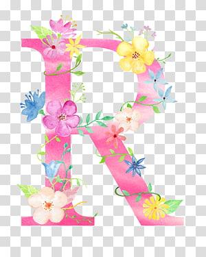 decoração floral rosa e amarela R, feriado da Páscoa, flores letra R PNG clipart