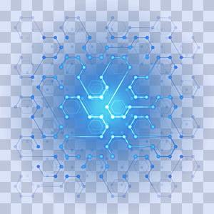 Designer de pôsteres, Tecnologia digital Efeito de luz hexágono digital, ilustração azul e verde-azulado png
