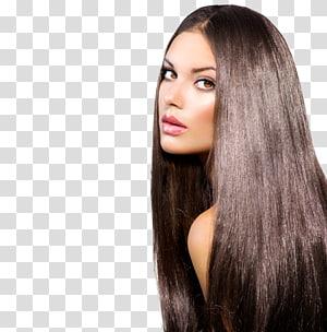 mulher de lado, integrações artificiais, cabelos castanhos, alisamento de cabelo, penteado PNG clipart