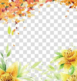 Outono verão outono fundo, amarelo pétalas de flores pintura png