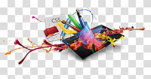 computador tablet preto com ilustração de canetas de cores sortidas, desenvolvimento Web Design responsivo web Logo, pratos criativos pigmento computador 3d PNG clipart