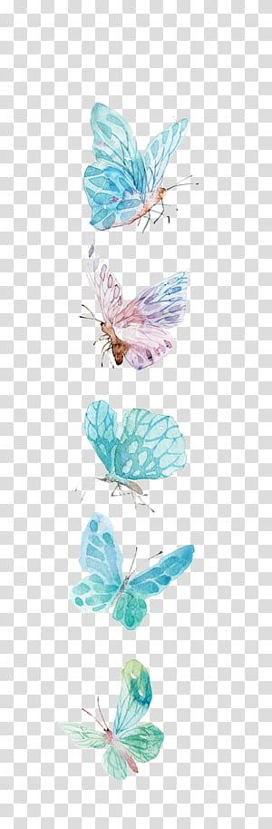 Ícone de borboleta, borboleta aquarela, ilustração de borboletas azuis e roxas PNG clipart
