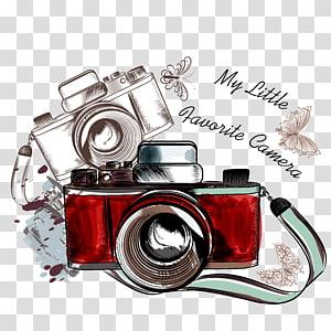 câmera, câmera vermelha e preta e ilustração de borboleta branca png
